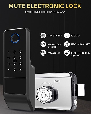 Mute Electronic Smart Deadbolt Rim Lock